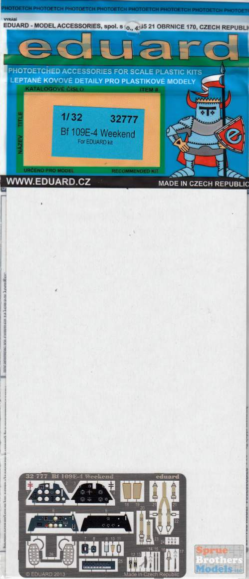 Eduard Accessories 32777 Bf 109E-4 Weekend for Eduard in 1:32