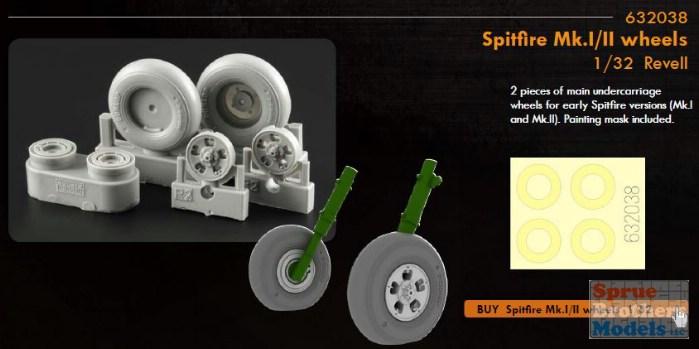 EDUARD BRASSIN 632038 Wheels for Revell® Kit Spitfire Mk.I//II in 1:32