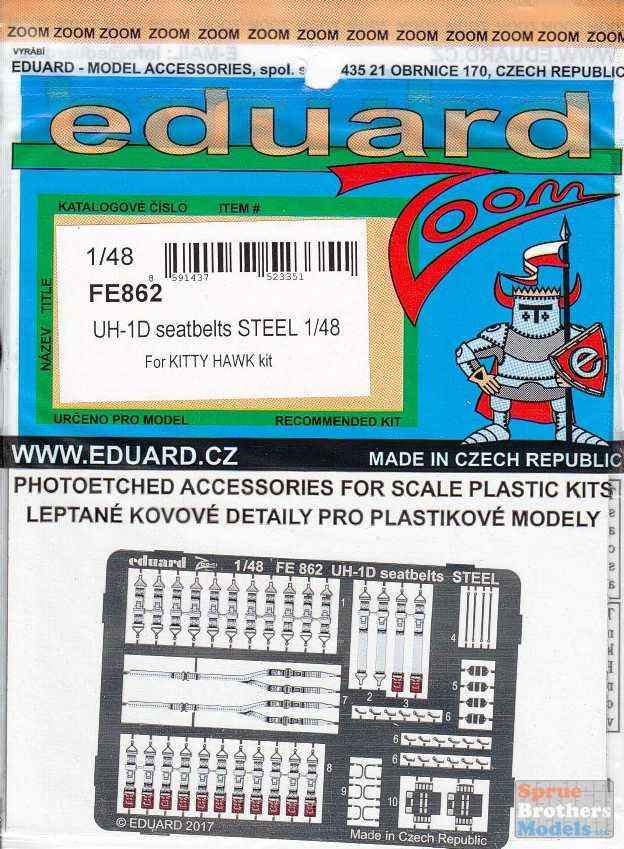 Eduard 1//48 FE862 Colour Steel Etch UH-1D Huey Seatbelts Kitty Hawk kit