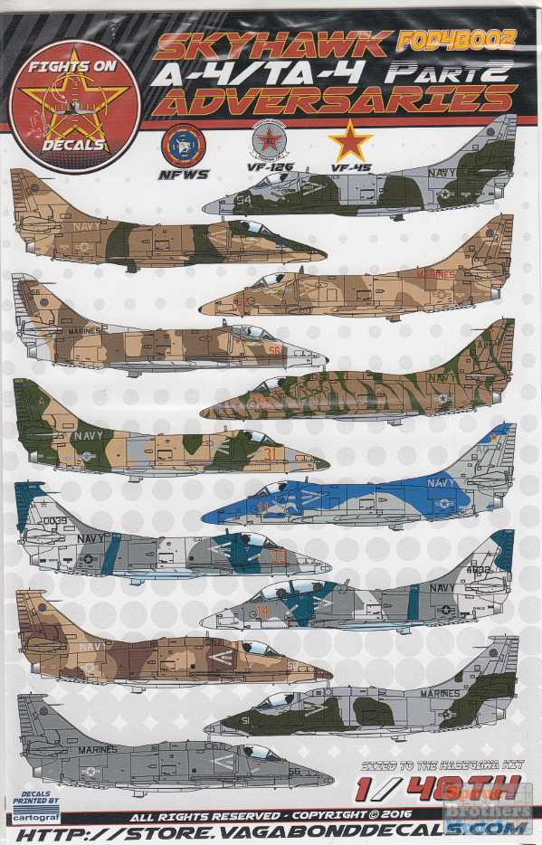 FIGHTS ON DECALS 1//48 A-4 TA-4 SKYHAWK ADVERSARIES Part 1 FOD48001